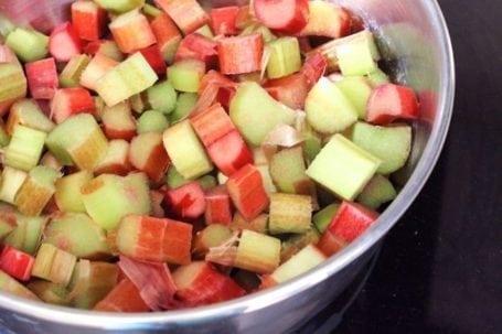 raw chopped rhubarb in pot
