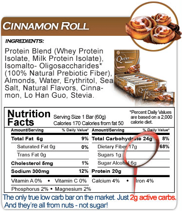Cinnamon Roll Quest Bar Ingredients and Nutrition label