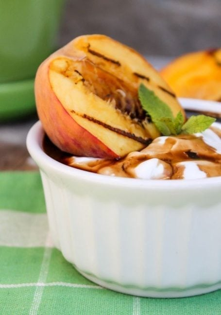 Grilled Peaches with Greek Yogurt and Balsamic Drizzle