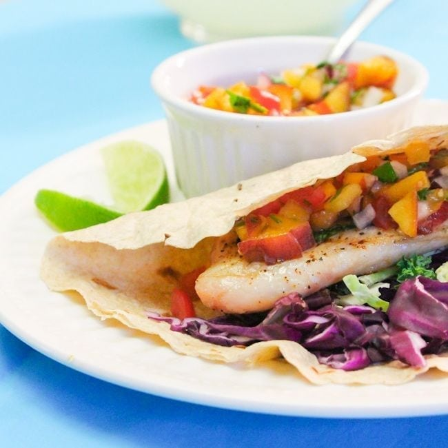 Grilled Tilapia Tacos with Nectarine Salsa