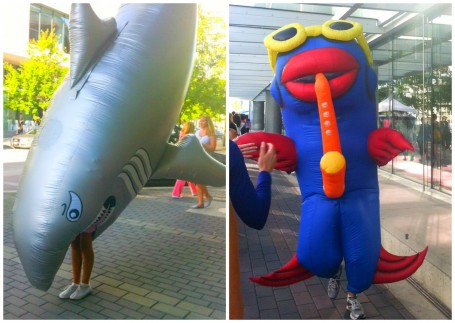 inflatable mascots at seawheeze