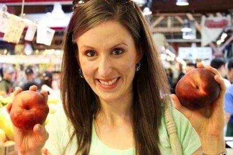 massive peaches at granville island market