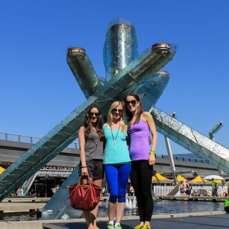 me christina and robyn at the olympic torch