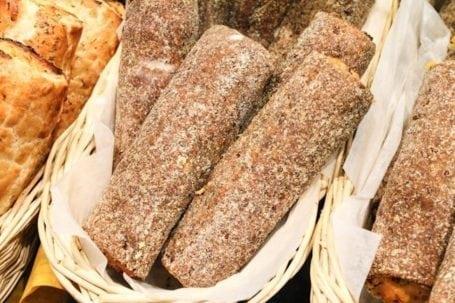 salmon flax rolls at granville market