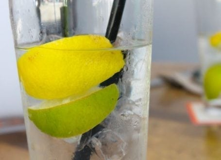 water with lemon and lime