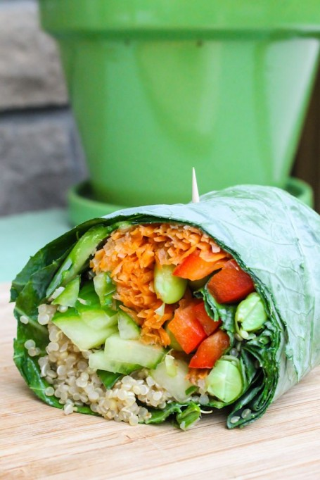 Edamame and Quinoa Collard Wrap with Sweet Ginger Dressing