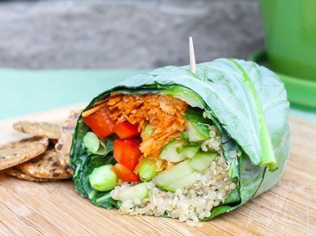 Edamame quinoa collard wraps - Edamame recipes for your inspiration