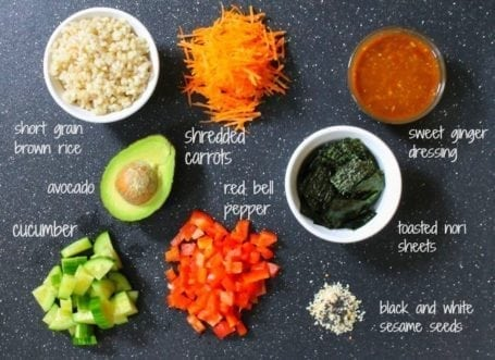 Ingredients for deconstructed sushi salad