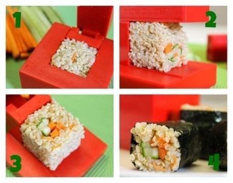 Making quinoa cube sushi