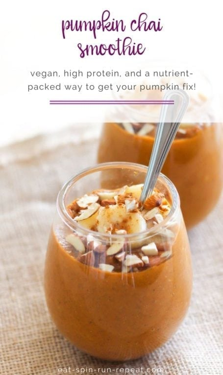 Pumpkin Chai Smoothie || vegan, high-protein, gluten-free and perfect for your fall pumpkin obsession! || Eat Spin Run Repeat
