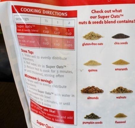 back of super oats bag