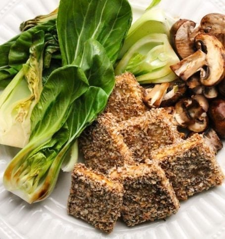 Coconut Crusted Tofu with Bok Choy and Mushrooms - Eat Spin Run Repeat