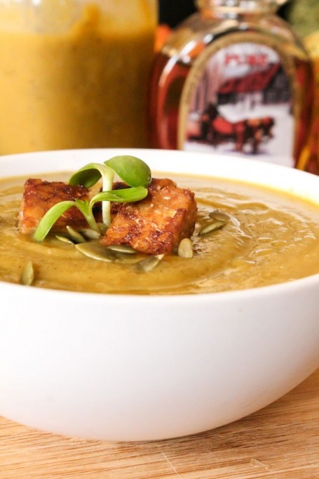 Winter Squash Soup with Maple Tempeh
