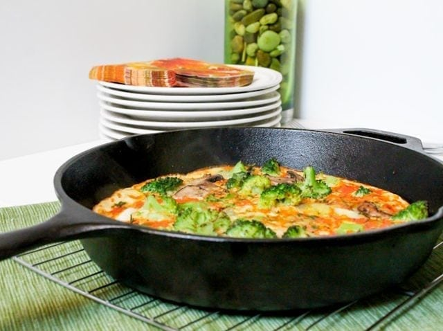 Leek Broccoli and Mushroom Frittata - Eat Spin Run Repeat