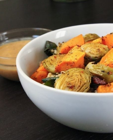 Roasted Veggie Bowl with Magic Miso Sauce - Eat Spin Run Repeat