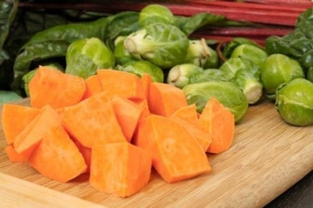 chopped sweet potato and brussels sprouts