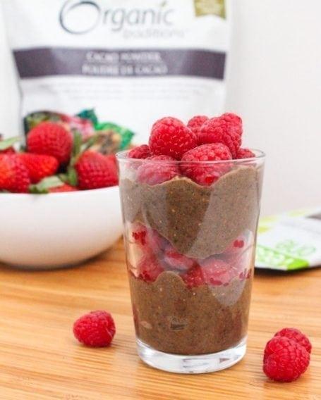 Double Chocolate Raspberry Chia Parfait - Eat Spin Run Repeat