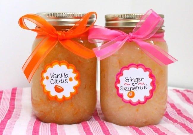 vanilla citrus and ginger grapefruit natural body scrubs - Eat Spin Run Repeat