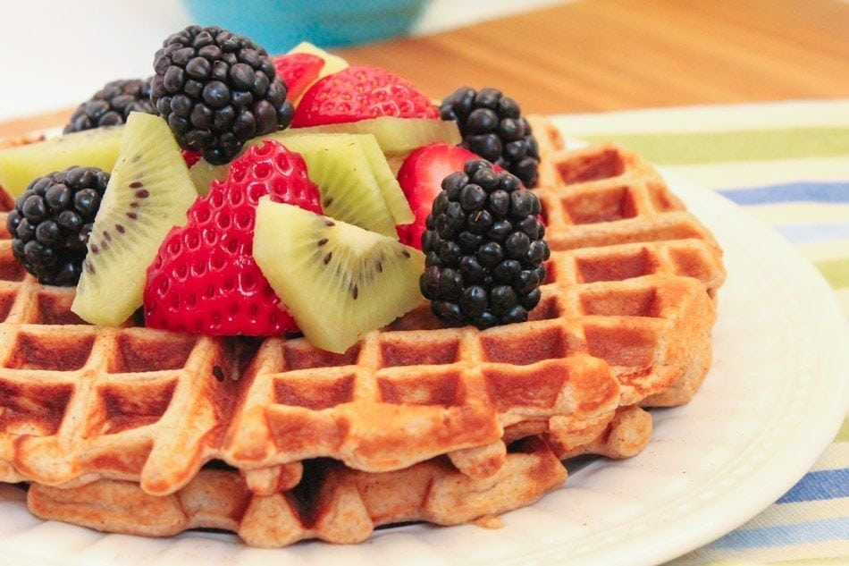 Vanilla Fruit Explosion Waffles - Eat Spin Run Repeat