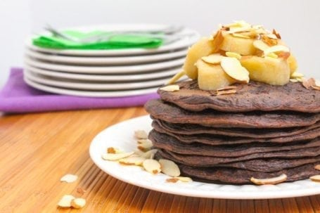 Vegan Chocolate Covered Almond Protein Pancakes - Eat Spin Run Repeat
