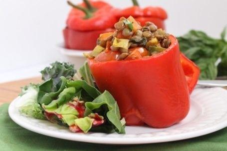 Vegan Lentil and Veggie Stuffed Peppers - Eat Spin Run Repeat