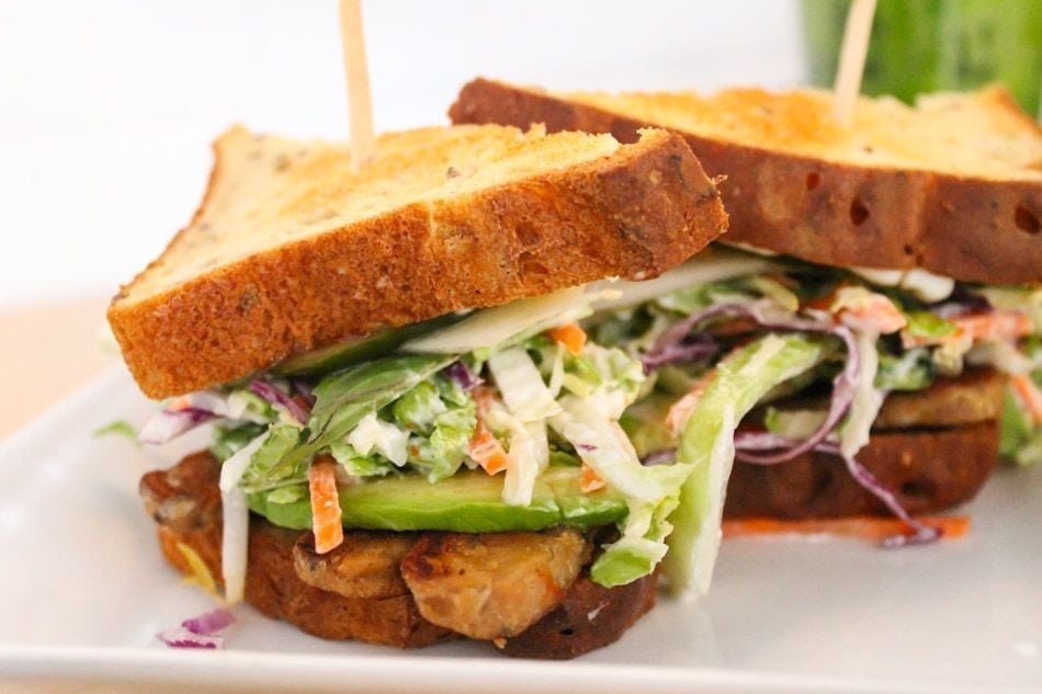 Banh Mi Sandwich on gluten free bread with sesame tempeh, pickled ...