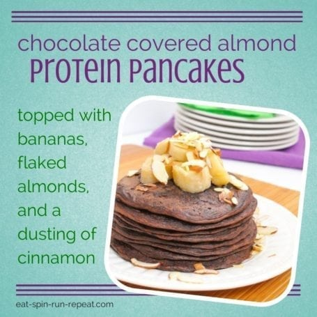 gluten free vegan chocolate covered almond protein panacakes - eat spin run repeat