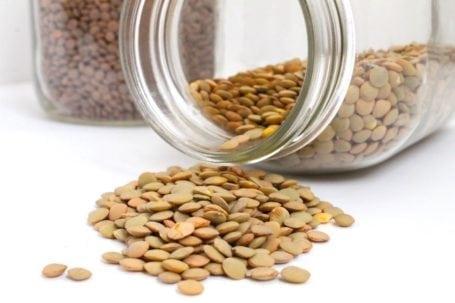 green lentils in mason jar