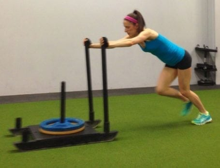 pushing sleds at redline conditioning