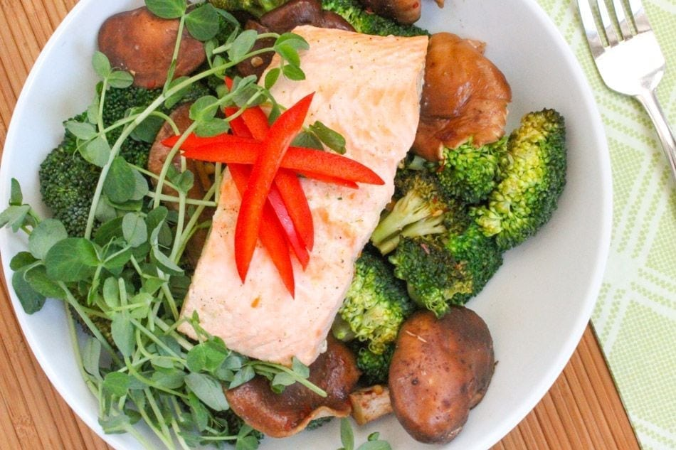 Shiitake Mushroom and Broccoli Stir Fry with Ginger Poached Salmon