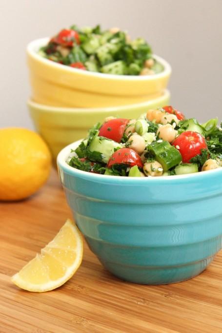 Big Batch Meal Prep - Lemony Chickpea Tabbouleh Salad - Eat Spin Run Repeat