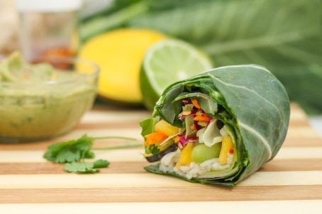 Rainbow Collard Wraps with Asian-Inspired Guacamole - Eat Spin Run Repeat