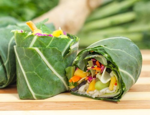 Rainbow Collard Wraps with Asian-Inspired Guacamole