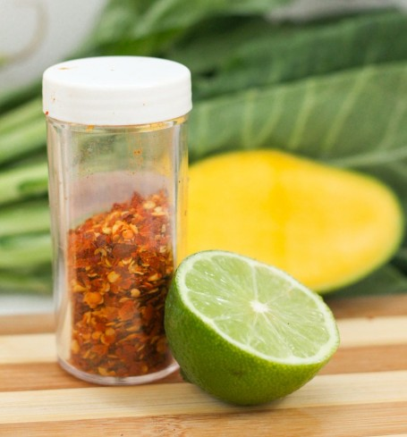 chili flakes and lime