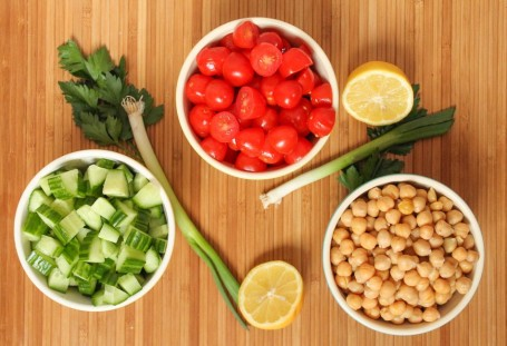 ingredients for chickpea tabbouleh salad