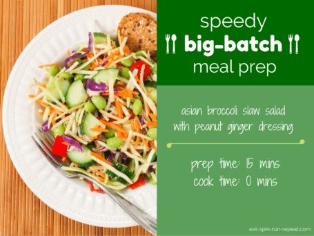 speedy big-batch meal prep - asian broccoli slaw salad | eat spin run repeat