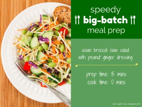 speedy big-batch meal prep - asian broccoli slaw salad | eat spin run repeat