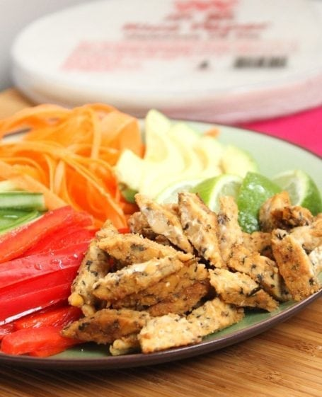 stir fried noble bean tempeh and veggies for summer rolls