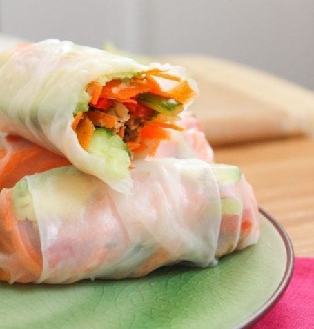 tempeh summer rolls with peanut ginger sauce