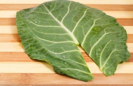 trimmed collard green leaf