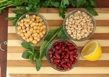 3 types of beans and mint with lemon