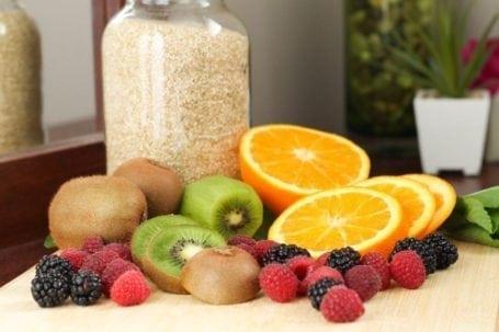 berries kiwis and orange slices