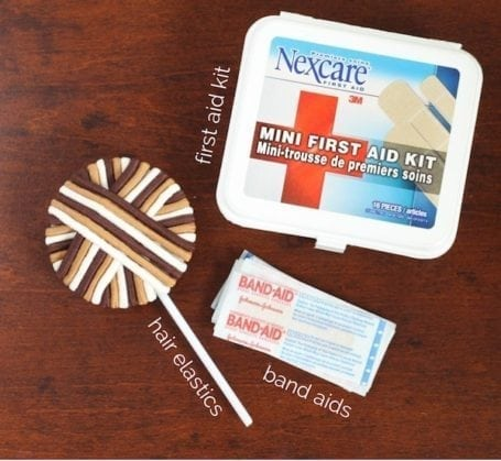 hair elastics first aid kit and band aids