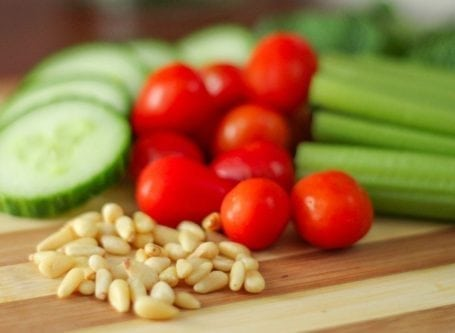 pine nuts with tomatoes cucumber and celery