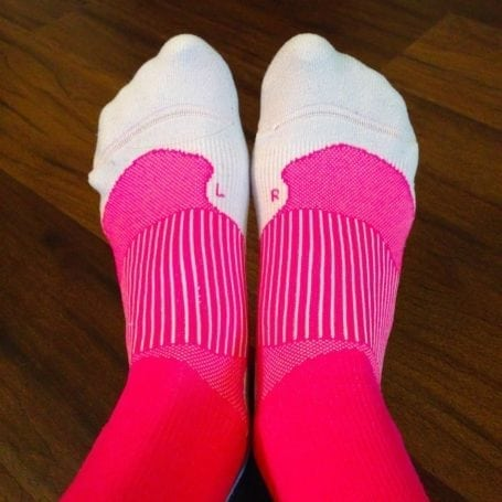 pink tommie copper compression socks - L and R