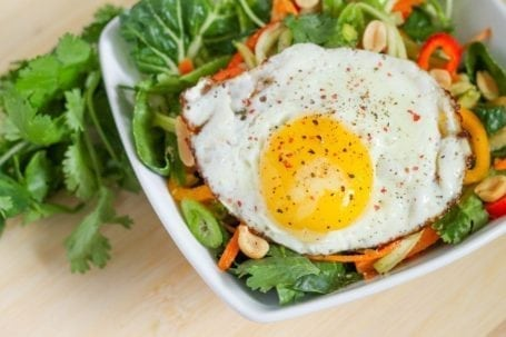 Thai Veggie Bowl with Fried Egg and Cilantro Ginger Dressing - Eat Spin Run Repeat