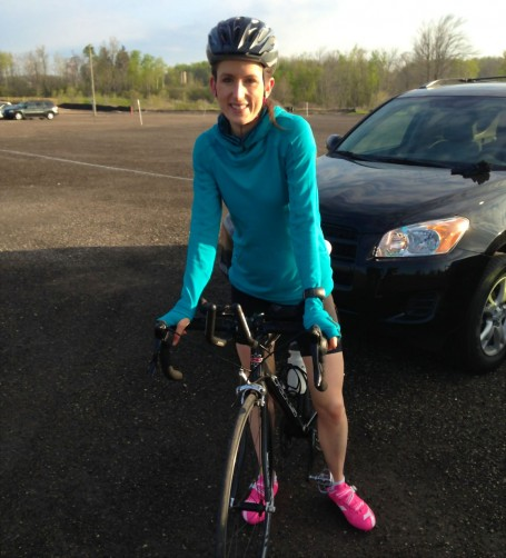 cycling near creekside