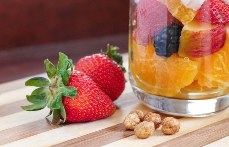 fruit and yogurt parfait with The Good Bean cinnamon chickpeas