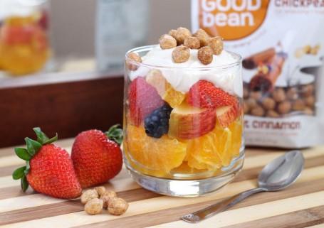 fruit and yogurt parfait with The Good Bean cinnamon chickpeas