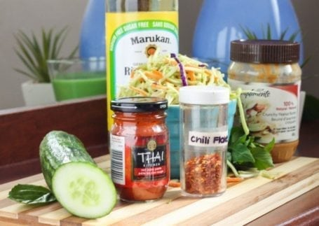 ingredients for fresh spring rolls with red curry dipping sauce